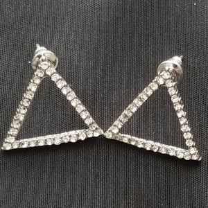 Jewelry - Geometric Shaped Rhinestone Studded Earrings